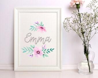 Nursery name print Custom name Baby girl nursery decor Custom name print Floral print Baby name sign Floral printable