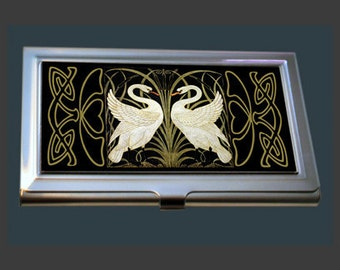 Business Card Case - Swans by Walter Crane.