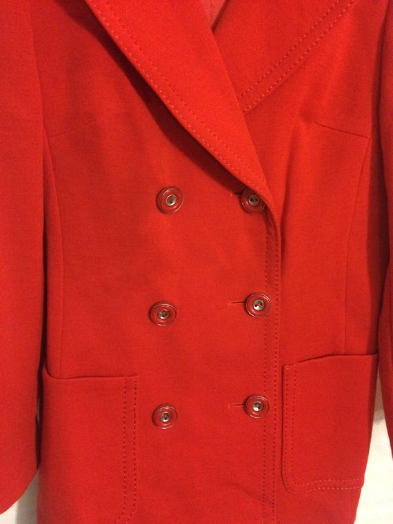 1970s style vintage red wool double breasted blazer jacket coat - UK 8 EU 36 US 6 - Glam Bowie Ziggy Stardust Seventies Studio 54 Xxtp0D