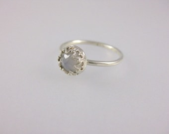 Arabesque Blue Chalcedony Stacking Ring  in Sterling Silver