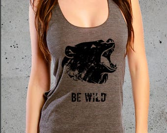 Hiking Shirt, Womens GRIZZLY BEAR Tank Top Shirt, Womens Clothing, Yoga Clothes, Racer Back Tank Top American Apparel Tri-Blend Tee S M L