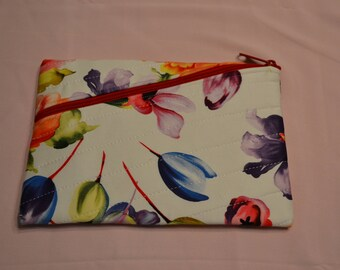 Quilted Floral Clutch with Zipper