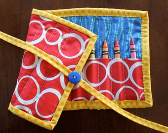 Red Crayon Holder, Crayon Roll, Crayon Tote, Crayon Holder, Primary Colors, Red, Yellow, Blue, White, Crayon Roll Up, Quilted Crayon Holder