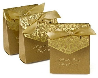 Kraft Gold Foil Stamped Personalized Wedding Favor Boxes (Pack of 25) Wedding Favor Ideas 50th Anniversary