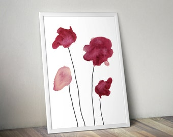 Four Fuschia/Red Watercolor Flowers Wall Art Print- 8x10 PDF Instant Download