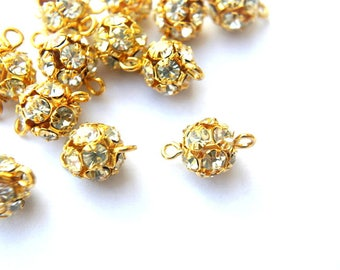 2 Vintage Swarovski connector ball BEADS crystal 10mm clear rhinestones in gold color setting