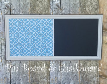 LARGE Framed Pin Board and Magnetic Chalkboard- Distressed White Vintage Style Framed Corkboard - Aqua Print Pin Board Chalkboard Combo