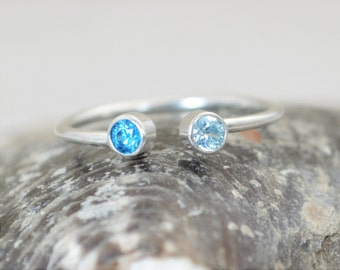 Dual Stone Ring, Cuff Ring, Silver Birthstone Ring, Stacking Ring, Couples Ring, Mothers Ring, Stone Ring, Mothers Jewelry, Horseshoe Ring