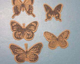 Set of 5 Kraft Butterflies