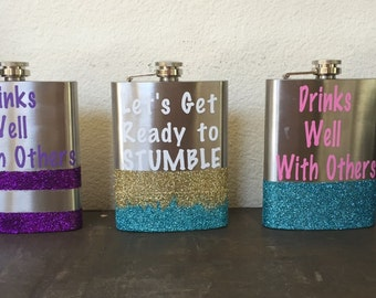Get Ready To Stumble/ Glitter Flask/ Girls flask/ Custom flask/
