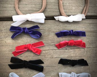 Gathered Knot Velvet Bow/Sailor Bow/ Small/Headband/ Hair Clip/ Girls/ Baby/ Gift