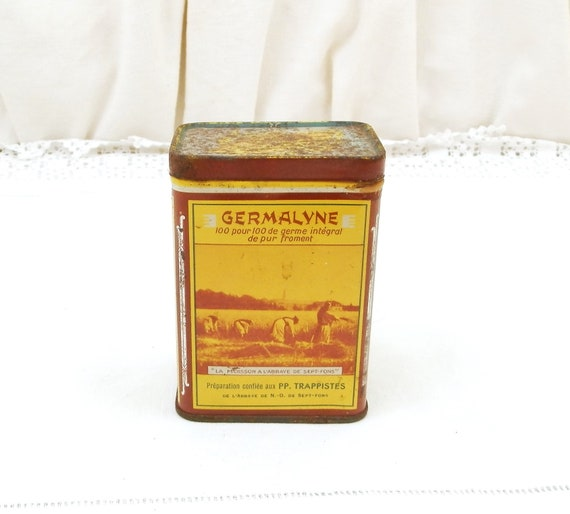 Vintage French Metal Yellow and Brown Lithographed Tin for Germalyne Wheat Germ Powder, Health Supplement Box, Brocante Country Decor France
