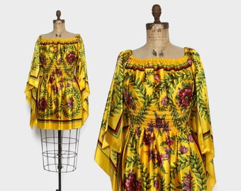 Vintage 70s Mini Dress / 1970s Gold Floral Pointed Sleeve Scarf Peasant Dress