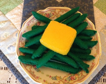 Set of 12 green beans & pad of butter