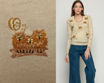 Owl Sweater 70s Sweater Boho Vintage Animal Bird Sweater 80s Novelty V Neck Embroidered Beige Tan Kawaii Pullover Bohemian Slouch Small