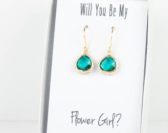 Tiny Teal Gold Earrings, Gold Teal Blue Green Earrings, December Gold Earrings, Bridesmaid Jewelry, Teal Wedding Jewelry, Teal Blue Earrings