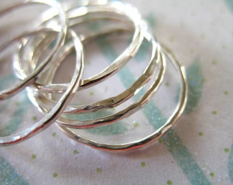 1 3 5 10 pc, 925 Sterling Silver or Gold Knuckle Rings Stack Rings Midi Ring, Thin Skinny Stackable Band Ring, Size 1-9.5, sr1-c