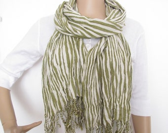SCARF VINTAGE Fringe scarf Long scarf Women scarf Striped scarf Khaki Ivory white Viscose Rayon Under 20 Great condition Ready to ship