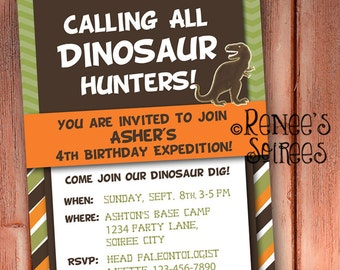 DINOSAUR INVITATION - Printable - Birthday Party Invite - Customizable - Choose from Stripes, Plaid or Chevron