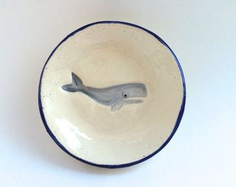 Whale Dipping Dish, Whale Tapas Plate, Whale Dish, Round Whale Dish, Nautical Beach Decor, Nautical Ring Dish, Tea Bag Holder, Small Whale