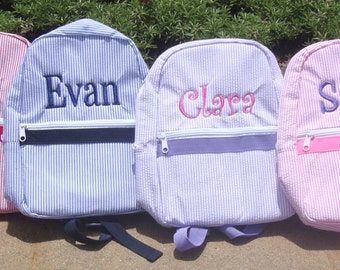 Personalized Toddler Backpack in 4 Seersucker Colors, Flower Girl Gift, Ring Bearer Gift, Diaper bag