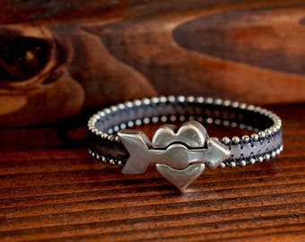 Heart Bracelet Valentine Jewelry Love Gift Valentine Leather Bracelet Valentine Gift For Her Teen Gift Unisex His and Hers Jewelry Under 50
