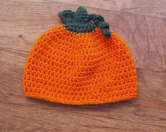 Crochet Pumpkin Hat / Newborn to Adult Sizes / Fall Hat /  Halloween Hat / Halloween Costume / Mommy and Me / Newborn Photo Prop