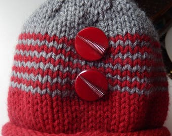 Kid's Rolled Brim Brick Red and Gray Striped Knitted Hat