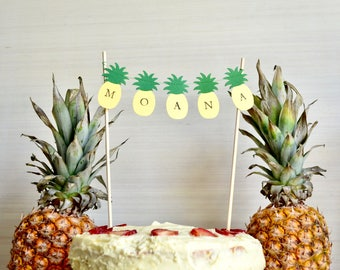 Personalizeable Pineapple Cake Banner - order plain or add your choice of name or text!
