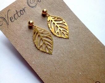 Gold Leaf Stud Earrings, Gold Earrings, Gold Vermeil, Nature Jewellery, Dangle Earrings, Gift For Her, Leaf Earrings