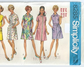 Vintage Pattern - 1970s Pattern - Zip Front Dress - Vintage Simplicity Pattern 8285 - 1971 - Bust 114 cm