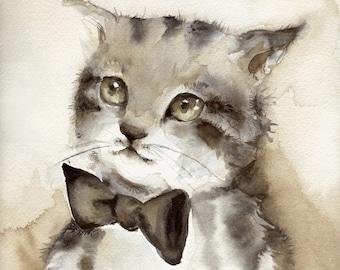 "Cat Art-cat watercolor, -""Dreamer"" Archival Print, children, decor, nursery decor, brown, grey"