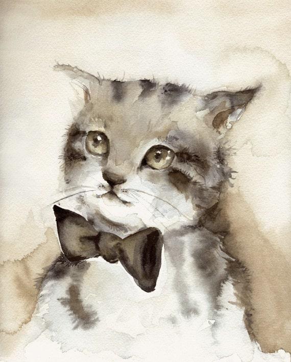 Cat Art-cat Watercolor Dreamer Archival Print