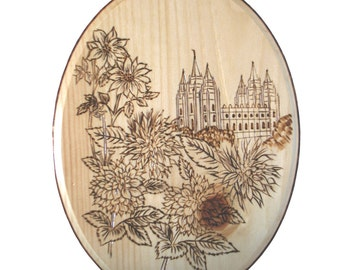 LDS Temple Woodburned Plaque Salt Lake UT - Custom Example
