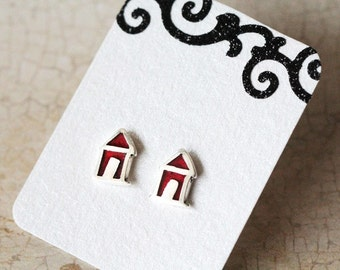Sterling Silver Earring Post, House Sterling Silver Studs, Gift Under 30, Minimalist Earring Posts, House Stud Earrings, Holiday gift ideas