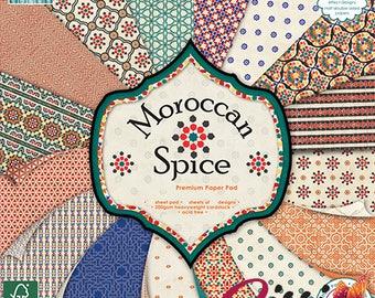 LOT 16 sheet paper cardstock sissi scrapbooking Morocco spice Marrakech blue orange brown spice 15x15cm 20x20cm 30x30cm