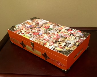 Upcycled Altered Orange Cigar Trinket Box