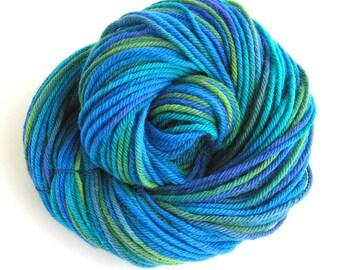 Wool Alpaca Yarn Hand Dyed Yarn Worsted Weight Yarn Wool Yarn 125 yards Blue Green Colors DIY Variegated Space Dyed Spring - Bluebird
