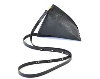 Celeste - Handmade Black Leather Shoulder Bag Purse SS17
