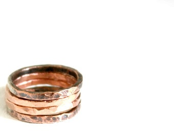 Copper Stacking Rings, Two Toned Copper Stackable Rings