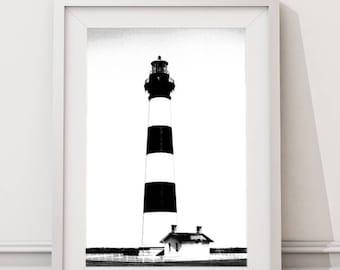 Black and White Coastal Lighthouse Beach Photography, Lighthouse Decor, Large Printable Modern Minimalist Art, Coastal Wall Art Decor Prints
