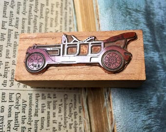 Vintage Copper Printing Block Letterpress Newspaper Print Plate Block Antique Car Stamp