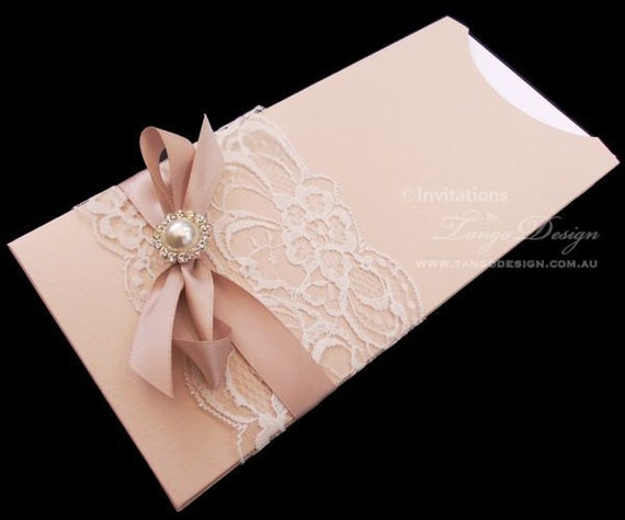 Wedding Invitations Lace And Pearl: ROSE GOLD Wedding Invitations. Pearl Wedding Invites With Lace