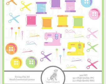 Sewing Clip Art - INSTANT Download -  Sewing Machine - Buttons - png/jpg - Craft Clipart