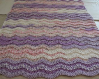 Rolling Ripples Baby Afghan,Purple, Pink & White
