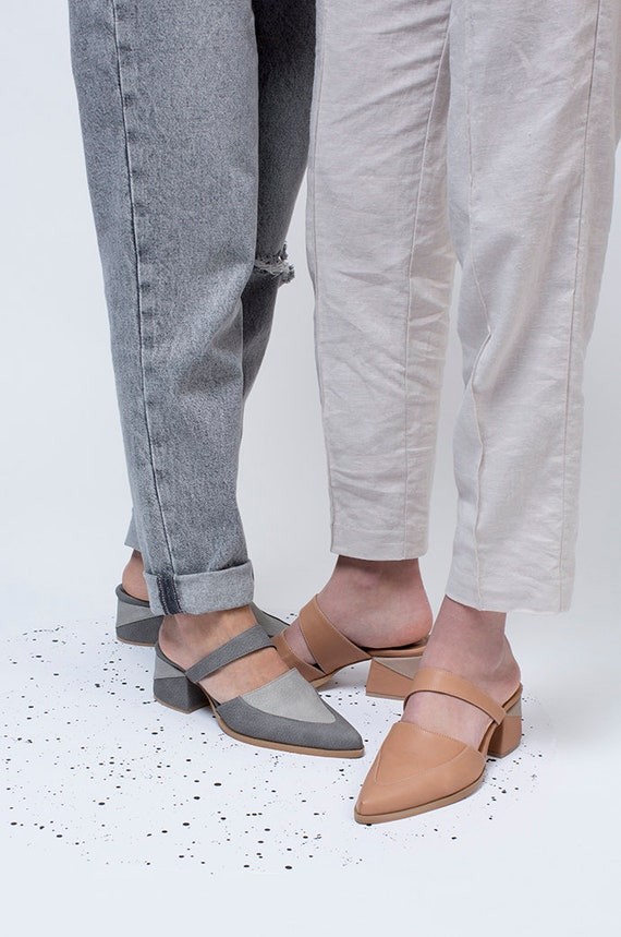 leather Ladies Womens Sandals Nude Sandals Mules Leather Slip Mules Slides Mules Shoes Mule Mules Mules Leather Pointed Mules On qr1XIw76r