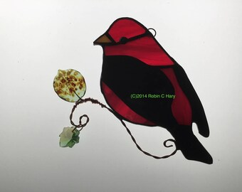 Scarlet Tanager Suncatcher in Stained Glass