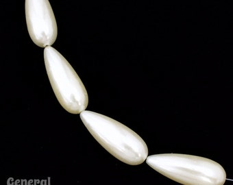 12mm x 32mm White Luster Pearl Teardrop (10 Pcs) #4447