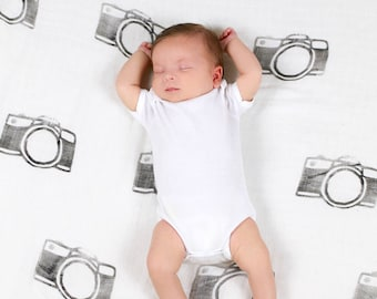 Camera Stamped Baby Swaddle - Baby Swaddle Blanket - Lightweight Baby Blanket - Swaddle Blanket - Photography Props  - Bamboo Blanket
