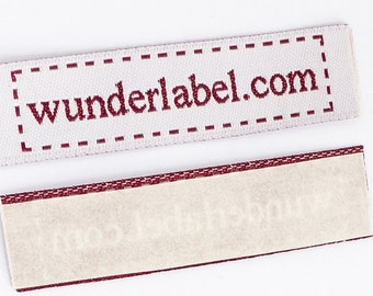 Iron on Woven Labels - Text & Symbol Only 20 USD for 50